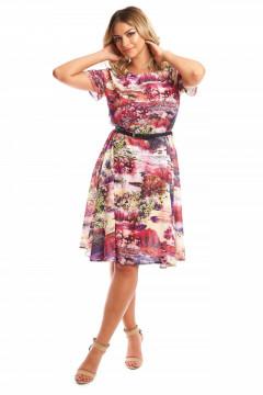 Rochie de zi clos cu imprimeu multicolor