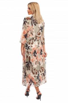 Rochie din voal cu imprimeu floral si fusta plisata