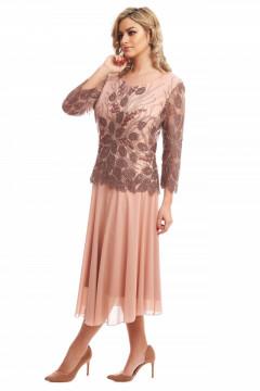 Rochie eleganta bej cu bust din dantela brodata si fusta clos din voal