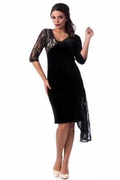 Rochie eleganta din catifea & dantela neagra