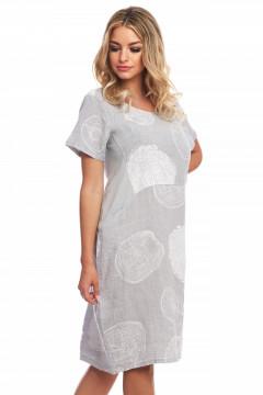 Rochie gri-deschis din in cu desene