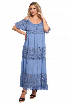 Rochie lunga albastra din bumbac si dantela