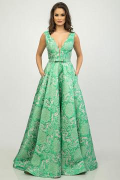 Rochie lunga jacard verde menta