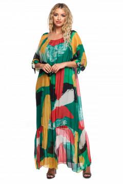 Rochie lunga lejera multicolora din vascoza naturala si volan
