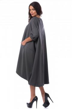 Rochie oversized asimetrica din stofa gri
