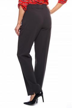 Pantaloni eleganti lungi gri inchis cu fermuar la buzunare