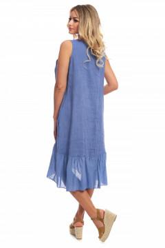 Rochie albastru-denim din in cu broderie