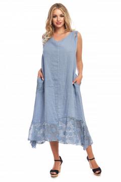 Rochie albastru-denim din in cu buzunare si dantela