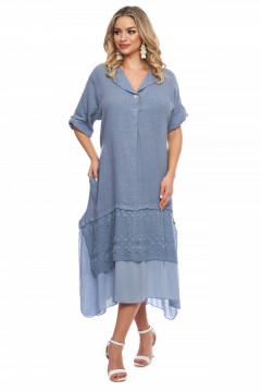 Rochie albastru-deschis din in si volan din dantela brodata