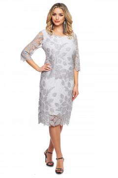 Rochie eleganta argintie din tull brodat