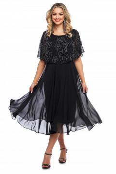 Rochie eleganta neagra din voal cu strasuri aplicate
