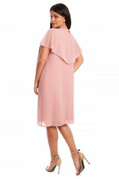 Rochie eleganta roz pudra din voal & bijuterie