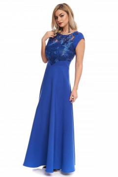 Rochie lunga albastra eleganta din tafta si dantela brodata