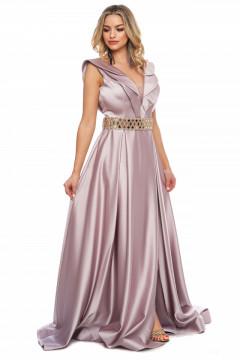 Rochie lunga roz prafuit din tafta si curea