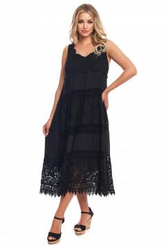 Rochie neagra chimono din vascoza naturala si dantela