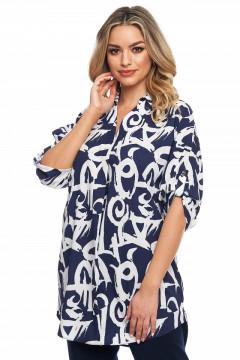 Bluza bleumarin cu alb cu guler