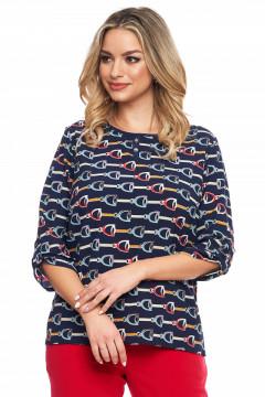 Bluza bleumarin cu imprimeu cu lanturi