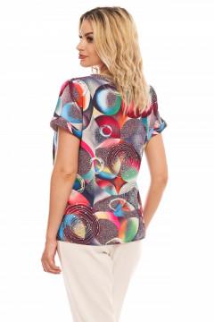Bluza multicolor din vascoza imprimata cu fundita