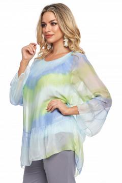 Bluza multicolora din vascoza naturala cu maneci clopot