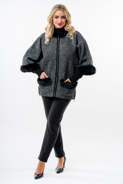 Jacheta neagra tricotata cu blanita naturala