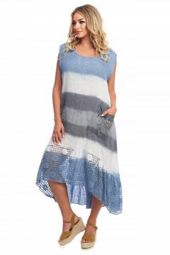 Rochie albastru-multicolor din in si dantela