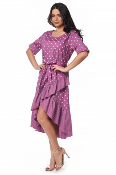 Rochie de zi bumbac cu buline roz