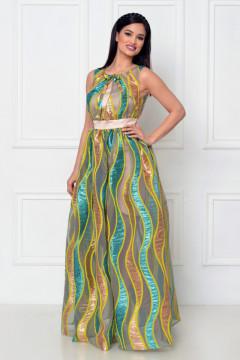 Rochie lunga organza brodata verde