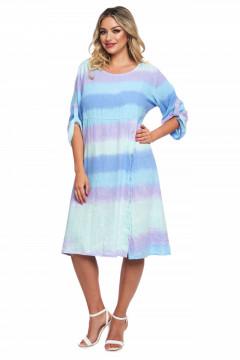 Rochie multicolora lila cu bleu din in