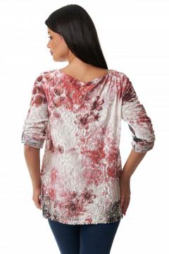 Bluza cu dantela & motive florale rosii