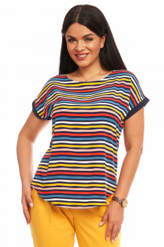 Bluza cu dungi multicolor din vascoza imprimata cu fundita la spate