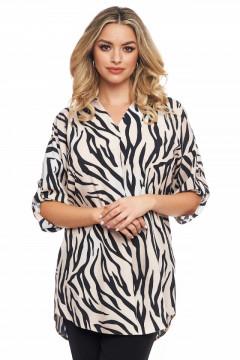 Bluza cu imprimeu zebra si guler