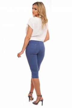 Pantaloni albastru denim treisferturi din tercot subtire