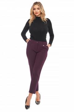 Pantaloni eleganti mov cu vipusca la buzunare