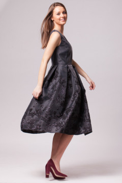 Rochie de ocazie neagra jacard cu flori
