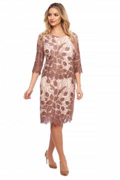 Rochie eleganta bej-inchis din tull brodat.