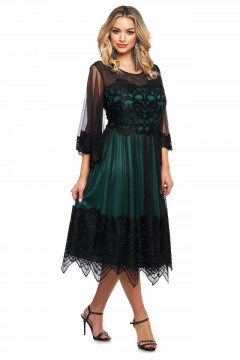 Rochie eleganta verde din tull si broderie aplicata