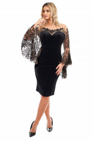 ROCHIE NEAGRA DIN CATIFEA SI BUST DIN TULL BRODAT SI MANECI CLOPOT