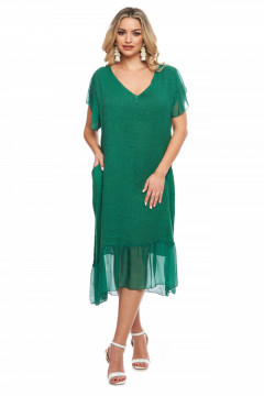 Rochie verde din in cu volan din vascoza
