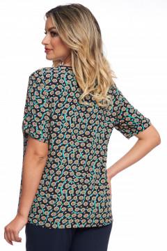 Bluza bleumarin cu imprimeu turquaz cu bej