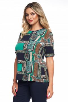 Bluza imprimata verde cu bleumarin