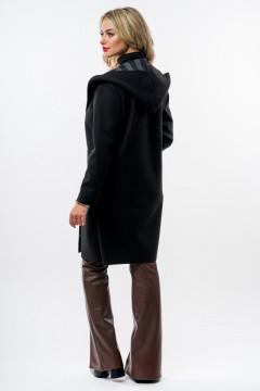 Cardigan negru din stofa cu imprimeu