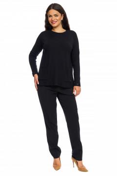 Pulover negru stil tunica cu buzunare si manseta