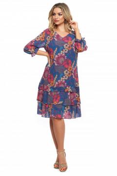 Rochie albastra din voal cu flori si volane