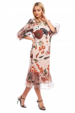 Rochie bej cu imprimeu floral cu maneca bufanta din organza si colier