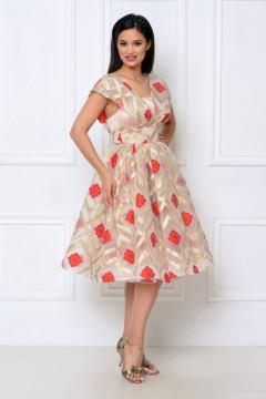 Rochie de ocazie organza rosu-auriu