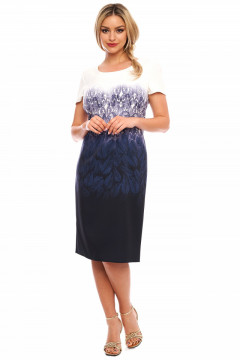 Rochie dreapta cu imprimeu bleumarin
