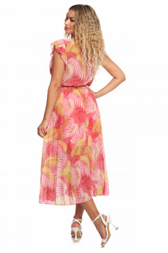 Rochie roz-prafuit din voal cu bust petrecut si fusta plisata