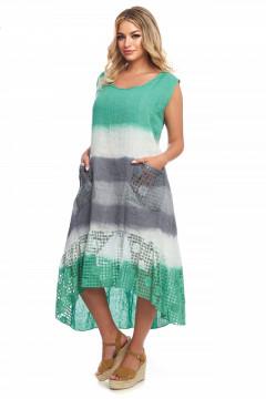 Rochie verde-multicolor din in si dantela