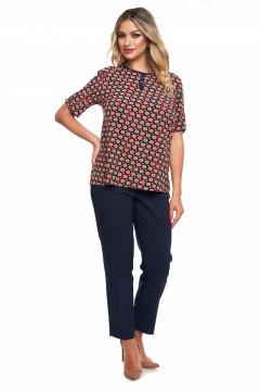 Bluza bleumarin cu imprimeu rosu cu bej