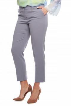 Pantaloni eleganti gri deschis cu vipusca la buzunare
